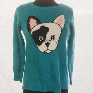 3/$21 Boston Terrier Soft Teal Sweater